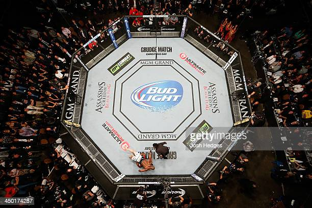 An overhead view of the Octagon as Rashad Evans defeats Chael Sonnen during the UFC 167 event inside the MGM Grand Garden Arena on November 16 2013...