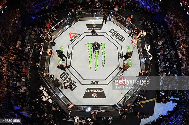 An overhead view of the Octagon before the UFC women's bantamweight championship bout between Ronda Rousey and Holly Holm during the UFC 193 event at...