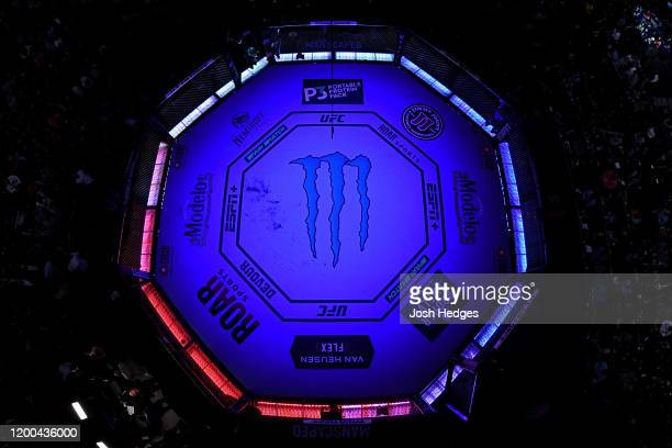 An overhead view of the Octagon during the UFC 246 event at TMobile Arena on January 18 2020 in Las Vegas Nevada
