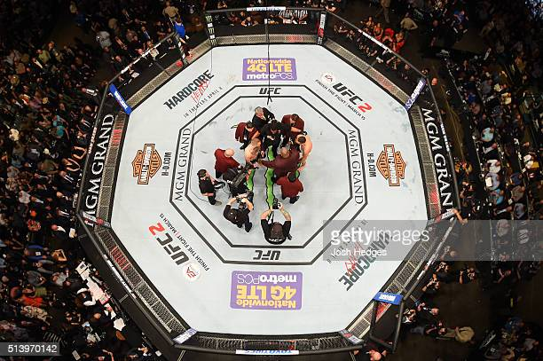 An overhead view of the Octagon of Conor McGregor and Nate Diaz facing off before their welterweight bout during the UFC 196 event inside MGM Grand...