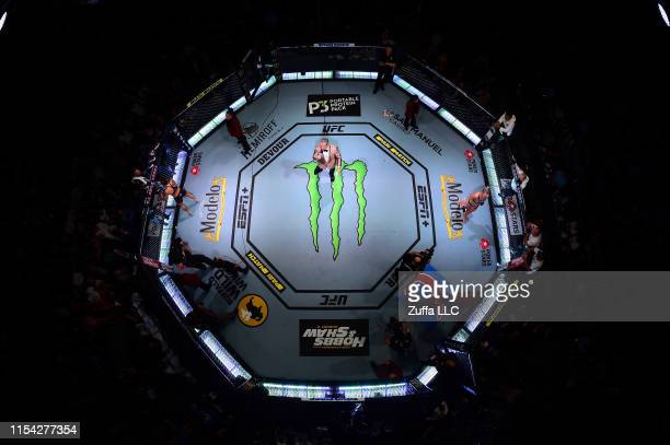 An overhead view of the octagon while Bruce Buffer announces Amanda Nunes of Brazil and Holly Holm during the UFC 239 event at T-Mobile Arena on July...