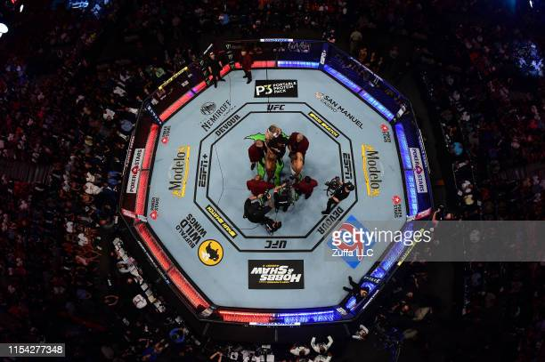 An overhead view of the octagon while Jon Jones and Thiago Santos of Brazil face off during the UFC 239 event at T-Mobile Arena on July 6, 2019 in...
