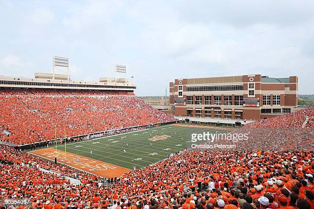 An overhead view of the opening kick off of the game between the Georgia Bulldogs and the Oklahoma State Cowboys at Boone Pickens Stadium on...