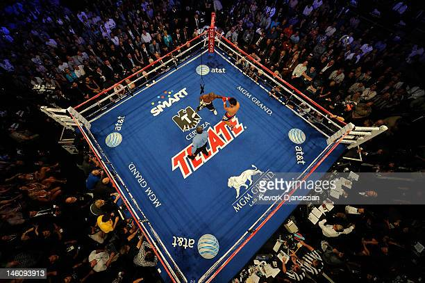 An overhead view of the ring as Timothy Bradley punches Manny Pacquiao during their WBO welterweight title fight at MGM Grand Garden Arena on June 9,...