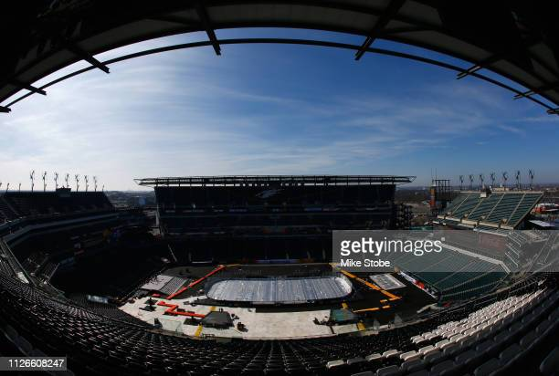 An overhead view of the rink build out is seen in preparation for the 2019 Coors Light NHL Stadium Series at Lincoln Financial Field on February 21...