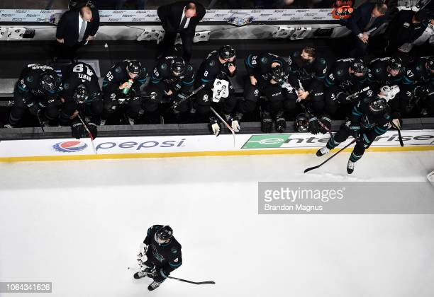 An overhead view of the San Jose Sharks bench as they face the Columbus Blue Jackets at SAP Center on November 1 2018 in San Jose California