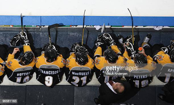 An overhead view of the Sarnia Sting bench in a game against the London Knights on December 31 2009 at the John Labatt Centre in London Ontario The...
