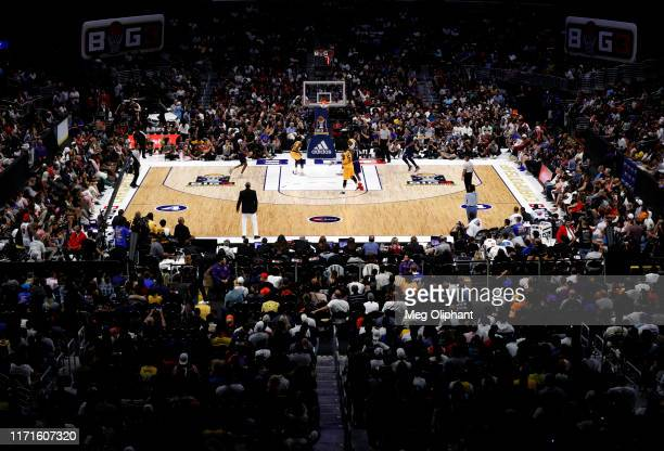 An overhead view of the Triplets playing against the Killer 3s during the BIG3 Championship game at Staples Center on September 01, 2019 in Los...