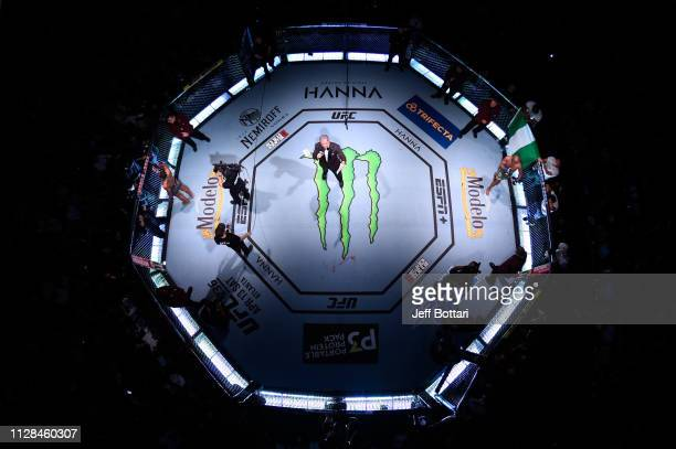 An overhead view of Tyron Woodley and Kamaru Usman of Nigeria in their UFC welterweight championship bout during the UFC 235 event at TMobile Arena...