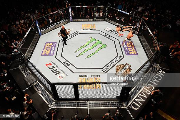 An overhead view of Yair Rodriguez of Mexico kicking Andre Fili in their featherweight bout during the UFC 197 event inside MGM Grand Garden Arena on...
