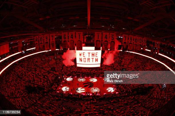 An overhead view prior to tip off between the Toronto Raptors and Philadelphia 76ers during Game One of the Eastern Conference Semifinals of the 2019...