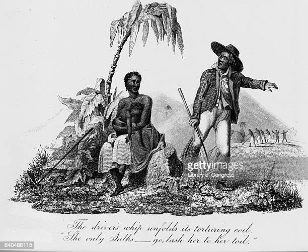 An overseer with a whip tells a young female slave with a child to get back to work