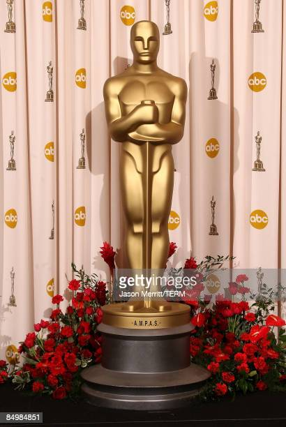 An oversized Oscar statue is displayed in the press room at the 81st Annual Academy Awards held at Kodak Theatre on February 22 2009 in Los Angeles...