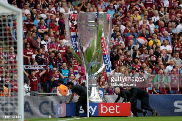 An oversized replica of the EFL Trophy is moved during the Sky Bet Championship Play-off Final match between Aston Villa and Derby County at Wembley...