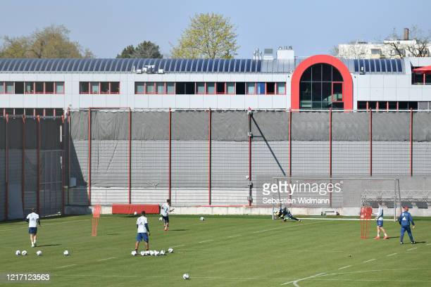 An overview during a training session at Saebener Strasse training ground on April 06 2020 in Munich Germany
