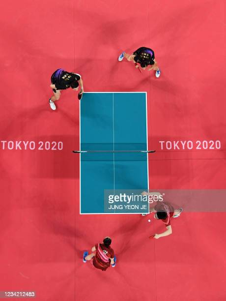 An overview image shows Japan's Jun Mizutani and Mima Ito competing against China's Xu Xin and Liu Shiwen in their mixed doubles table tennis final...