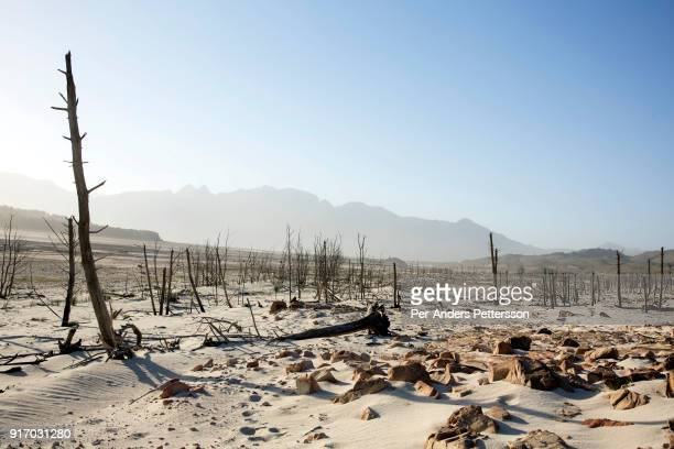 An overview of a dry area in Theewaterkloof dam on February 8 2018 in Villiersdorp about 100 kilometers outside Cape Town South Africa The dam is the...