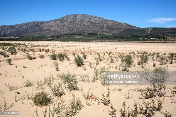 An overview of a dry area in Theewaterkloof dam on February 8 2018 in Villiersdorp about 100 kilometers outside Cape Town South Africa A farm...