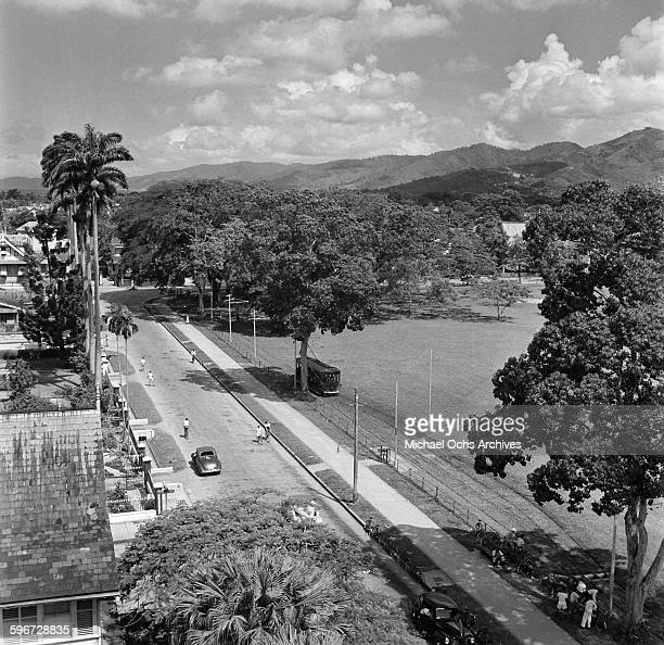 An overview of a street car in Port of Spain Trinidad British West Indies