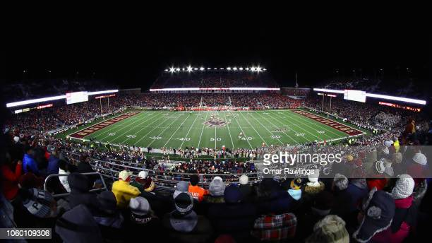 An overview of Alumni Stadium during the third quarter of the game between the Boston College Eagles and the Clemson Tigers at Alumni Stadium on...