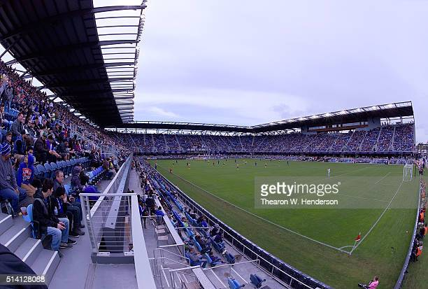 An overview of Avaya Stadium during a MLS Soccer game between the Colorado Rapids and the San Jose Earthquakes on March 6 2016 in San Jose California