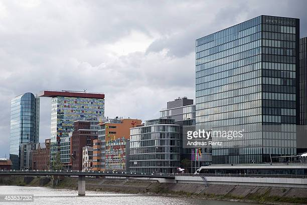 An overview of buildings are pictured at Duesseldorf media harbor on August 12 2014 in Duesseldorf Germany