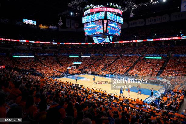 An overview of Chesapeake Energy Arena during the second half of game three of the Western Conference quarterfinals between the Oklahoma City Thunder...