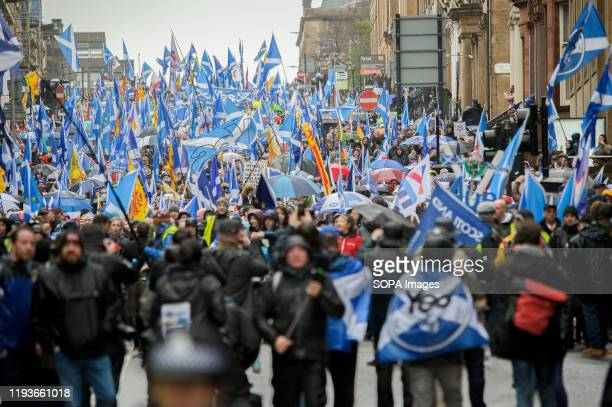 An overview of demonstrators as they come down West George Street waving flags and banners 80000 supporters came out in support of Scottish...