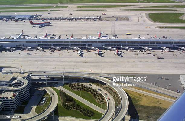An overview of DTW's Edward H. McNamara Terminal, showing part of Concourse A and Concourse C in the distance.