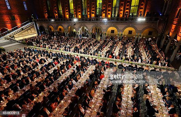 An overview of guests seated at the traditional Nobel gala banquett at the Stockholm City Hall on December 10 following the Nobel Prize award...