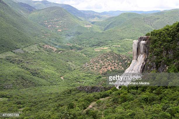 an overview of hierve el agua, oaxaca - oaxaca stock photos and pictures