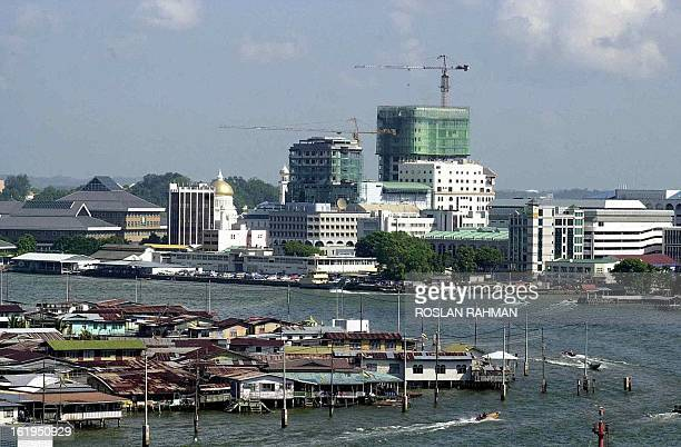 An overview of Kampung Ayer sits against the Bandar Seri Begawan skyline in Brunei 19 July 2000 Some 30000 Bruneian of the 320000 population lived on...