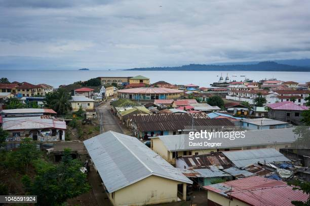 An overview of Luba one of the main towns and ports on Malabo on August 09 2018 in Luba Equatorial Guinea The city has a port used mainly for...