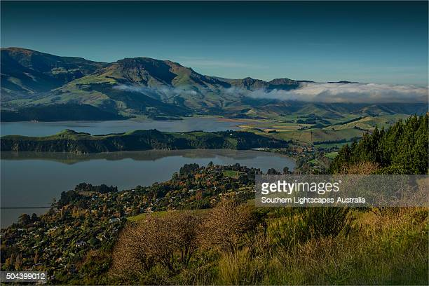 An overview of Lyttelton Harbour, just outside the city of Christchurch, south island, New Zealand.