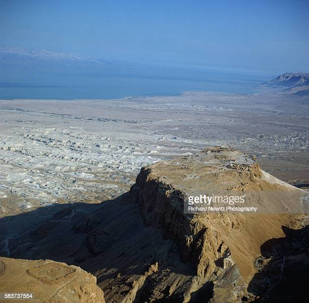 An overview of Masada an ancient mountaintop fortress in the Judean Desert Israel It was renovated by Herod the Great and was seized in the year 66...