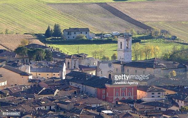 An overview of Norcia, with the collapsed St. Benedict Basilica, center left, the day after the earthquake that hit central Italy, on October 31,...