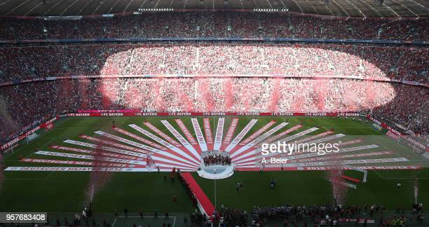 An overview of the arena as Muenchen is handed the Bundesliga champions trophy after the Bundesliga match between FC Bayern Muenchen and VfB...
