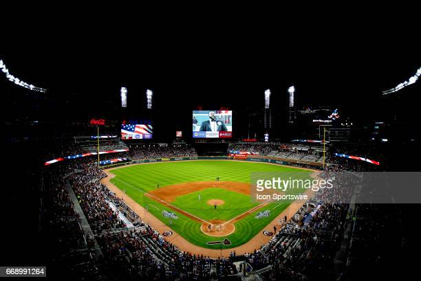 An overview of the ballpark during the game between the Atlanta Braves and the San Diego Padres on April 15 2017 at SunTrust Park in Atlanta GA