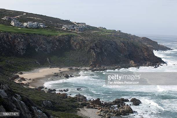 An overview of the beach and coastline on May 26 at Pinnacle Point near Mossel Bay South Africa The area has several caves where excavation is going...