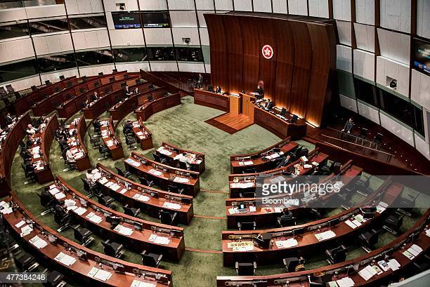 An overview of the chamber of the Legislative Council is seen in Hong Kong China on Wednesday June 17 2015 Almost eight months after protesters...