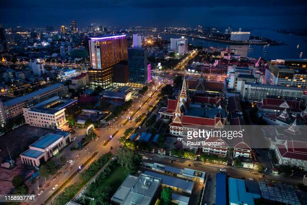 An overview of the changing landscape as major construction projects are ongoing in the Diamond Island area of Phnom Penh on July 30, 2019. Money...