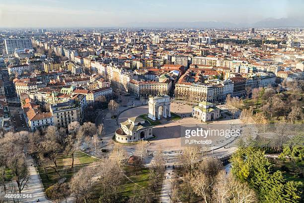 an overview of the city of milan in italy - milan stock pictures, royalty-free photos & images