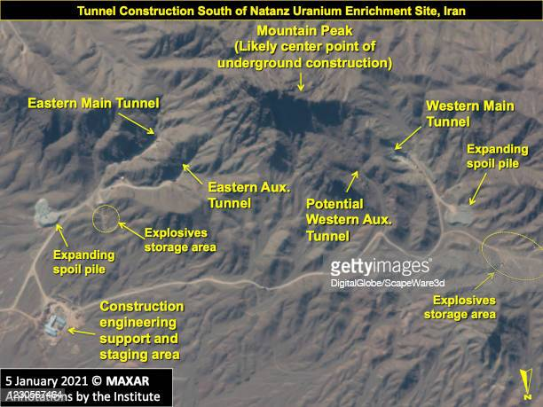 An overview of the construction area related to the future underground centrifuge assembly facility in the mountainous area south of the Natanz...