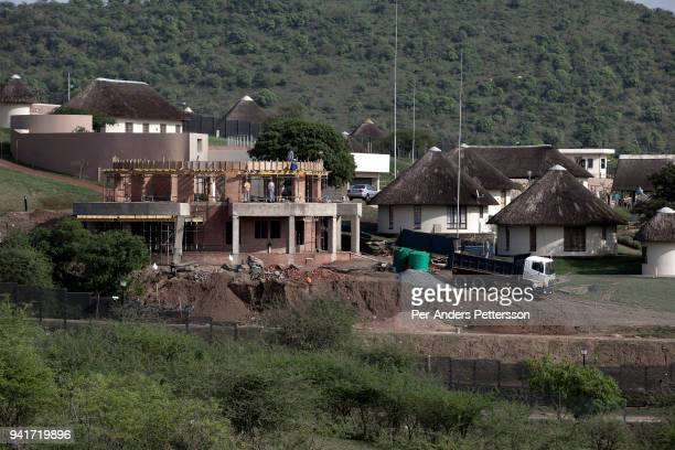 An overview of the construction on a building at the home for South Africa president Jacob Zuma's in his birth village on October 10 2012 in...