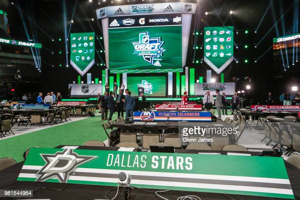 An overview of the draft floor prior to the 2018 NHL Draft at the American Airlines Center on June 22 2018 in Dallas Texas