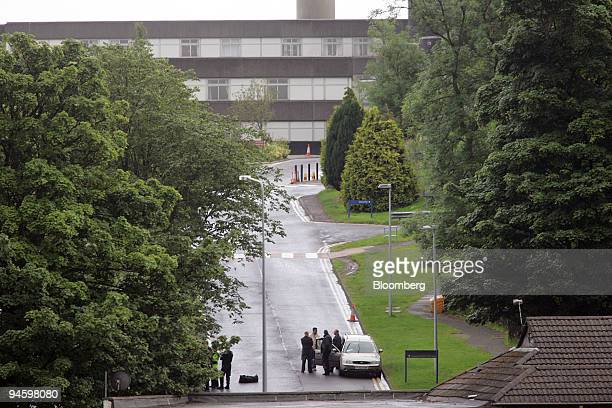An overview of the entrance to the Royal Alexandra Hospital in Paisley Scotland UK is seen where a controlled explosion of a car was carried out on...