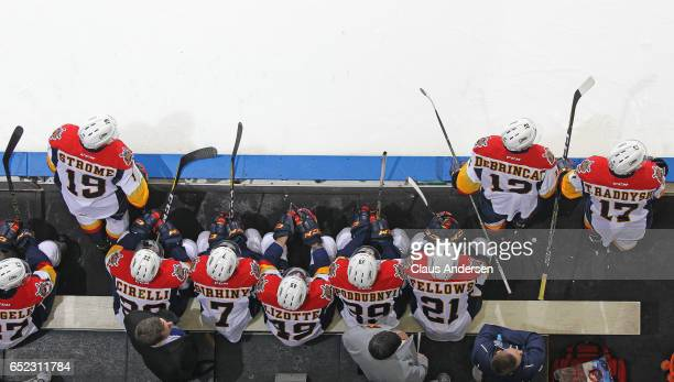An overview of the Erie Otters bench during action against the London Knights in an OHL game at Budweiser Gardens on March 10 2017 in London Ontario...