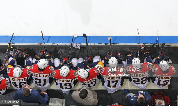 An overview of the Erie Otters bench during play against the London Knights in Game Six of the OHL Western Conference SemiFinal on April 16 2017 at...