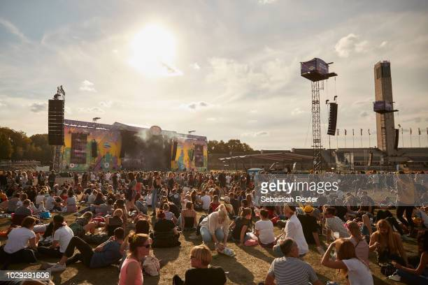 An overview of the festival area during Lollapalooza Berlin 2018 at Olympiagelaende on September 8, 2018 in Berlin, Germany.