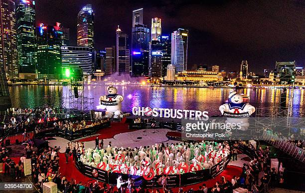 An overview of the Ghostbusters red carpet and Guinness World Record event at Marina Bay Sands on June 12 2016 in Singapore